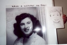 High school picture of Mom next to her caricature