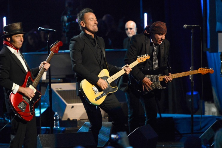 NEW YORK, NY - APRIL 10:  Bruce Springsteen and The E Street band perform onstage at the 29th Annual Rock And Roll Hall Of Fame Induction Ceremony at Barclays Center of Brooklyn on April 10, 2014 in New York City.  (Photo by Kevin Mazur/WireImage)